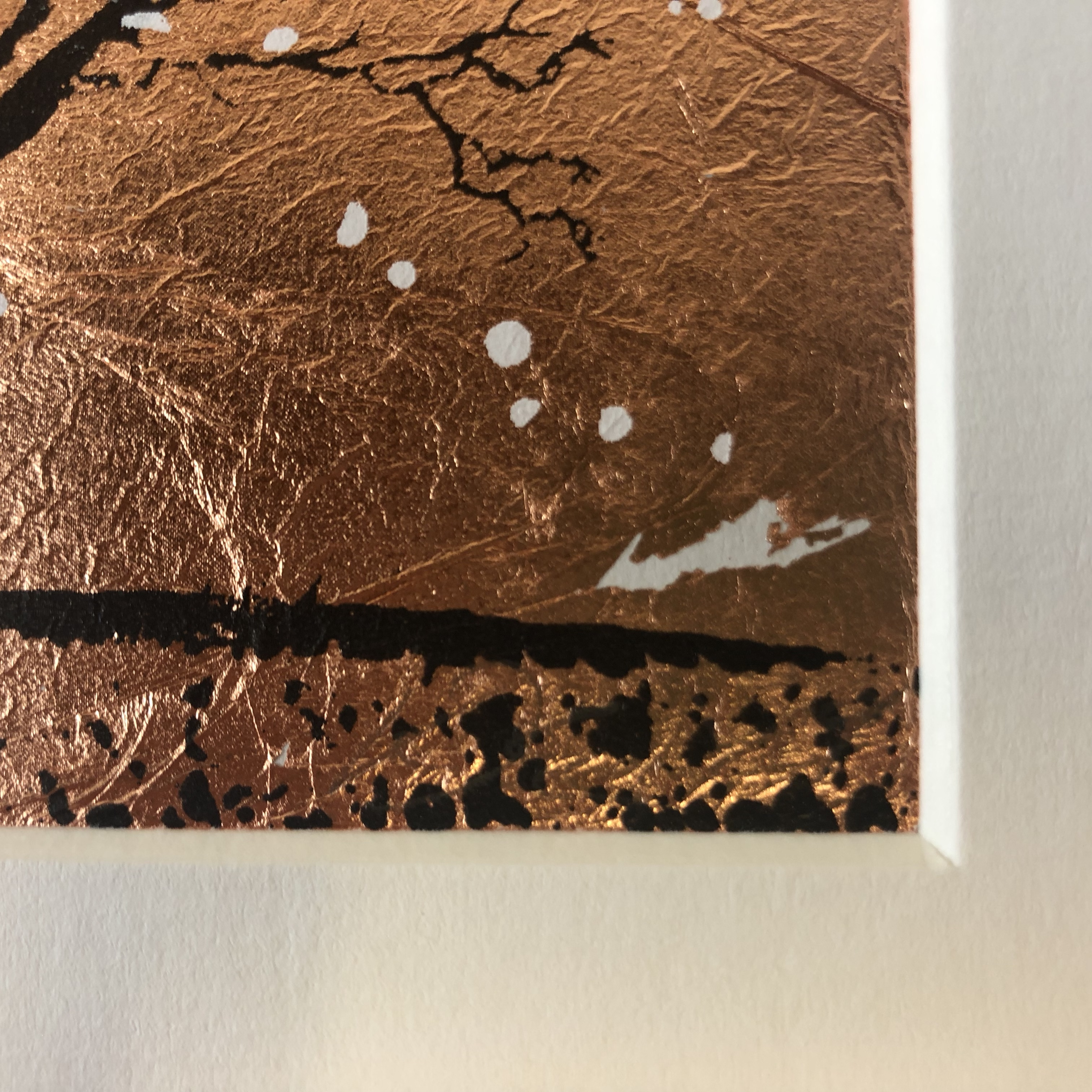 Katie Edwards' Copper Seasons with the artist's signature pictured as a close up.