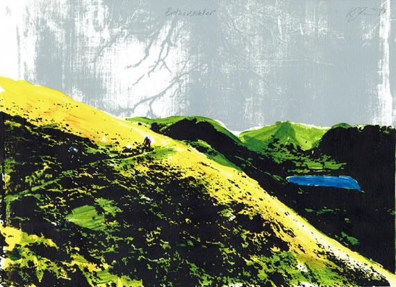 katie edwards art for sale online. mountain bike silkscreen print