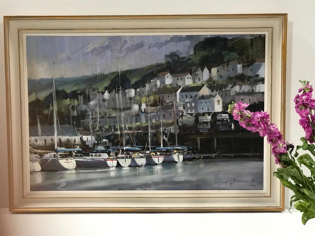 Dartmouth Harbour is an original contemporary oil painting. This harbour scene is bright and quintessentially british, depicting the main habour on the River Dart.