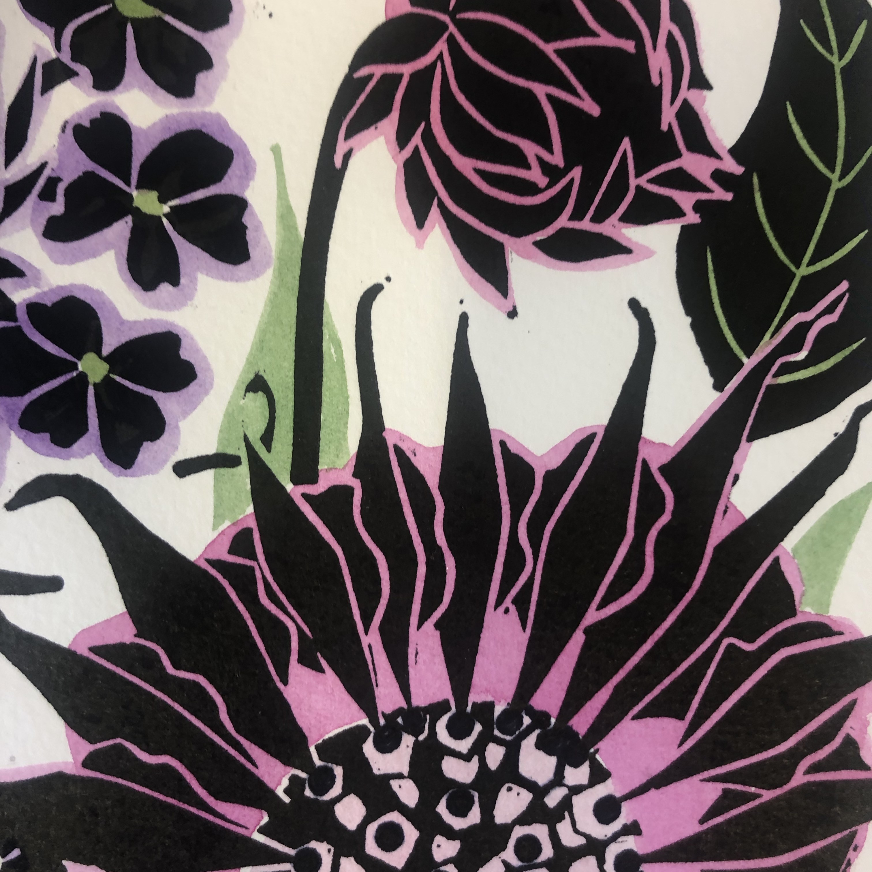 A medley of Cottage Garden flowers including Verbena bonariensis, Convolvulus and Monarda also known as bee balm. This linocut has been hand coloured using lightfast indian inks.