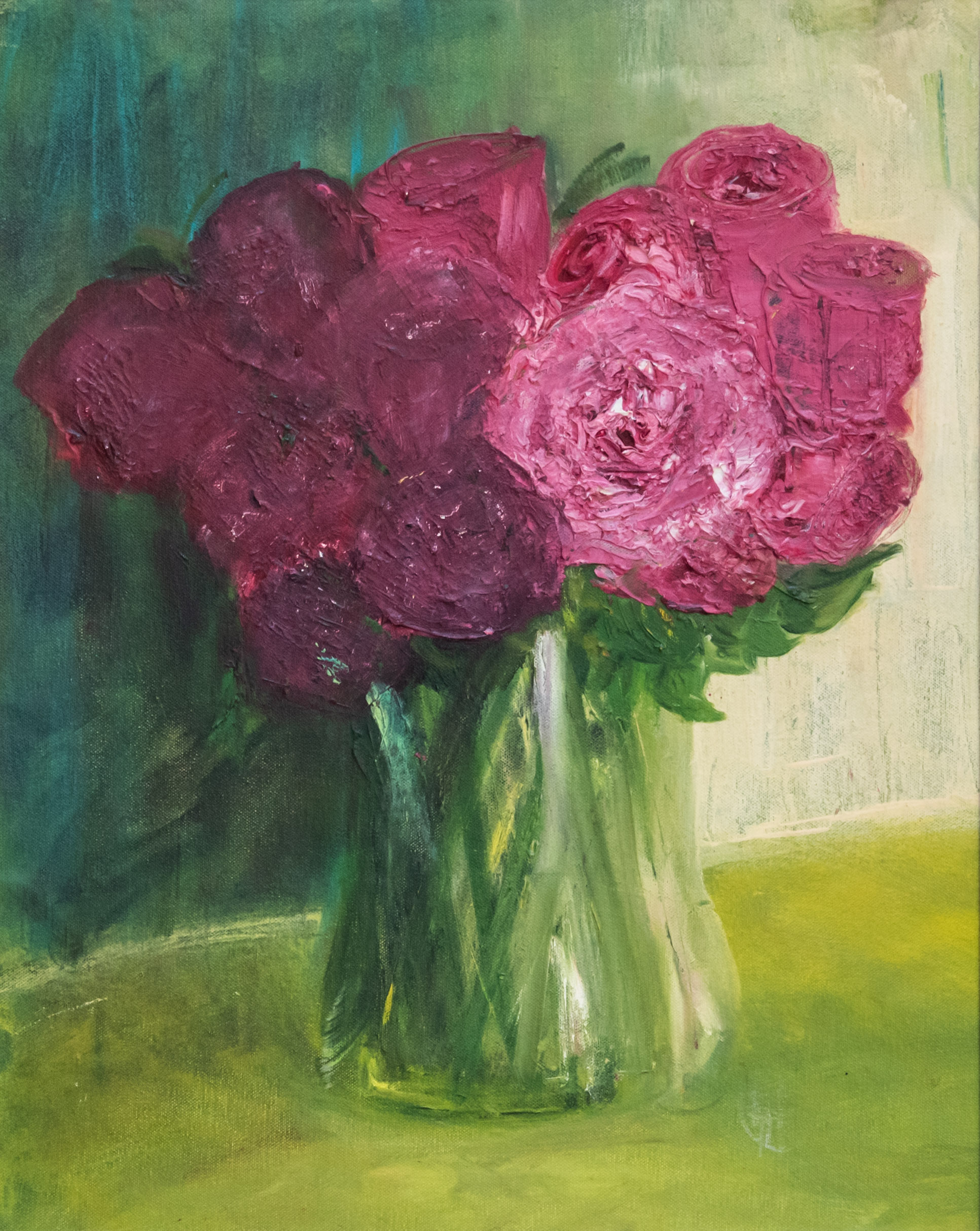 Pink Roses is an original oil painting by Henrietta Caledon. The deep pinks contrasted with multiple green tones are made particularly vibrant by the bold frame.