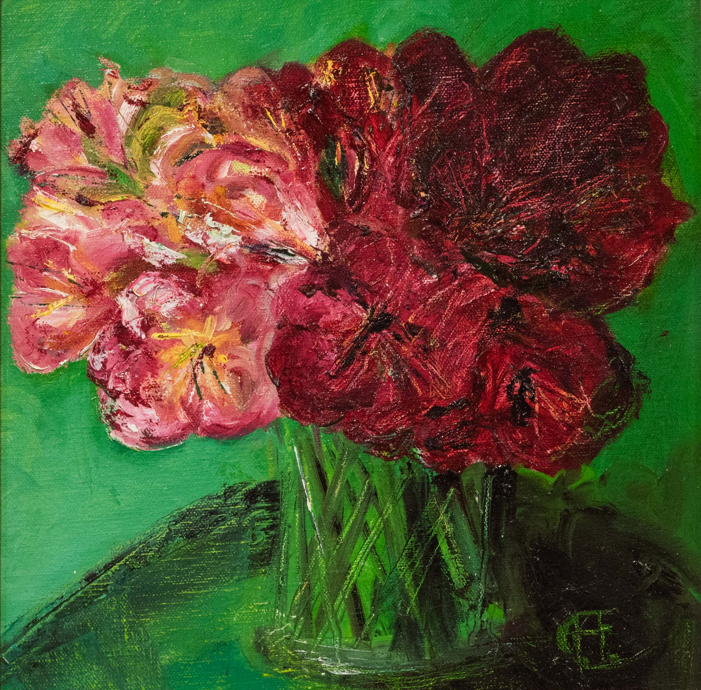 Alstroemeria Red on Green is an original oil painting by Henrietta Caledon. The vibrant background pushes the flowers to the forefront of the piece while the golden frame draws the viewer in.