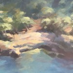 Trevor Waugh Original Oil Painting for Sale Online. Blue Core Menorca. Mediterranean scenes. Close Up 6