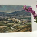Trevor Waugh, Fanjeaux South of France, Original Oil Painting for Sale Online. South of France, Landscape Painting, Wine Region Paintings. Scale Picture