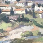 Trevor Waugh, Fanjeaux South of France, Original Oil Painting for Sale Online. South of France, Landscape Painting, Wine Region Paintings. Close Up Picture