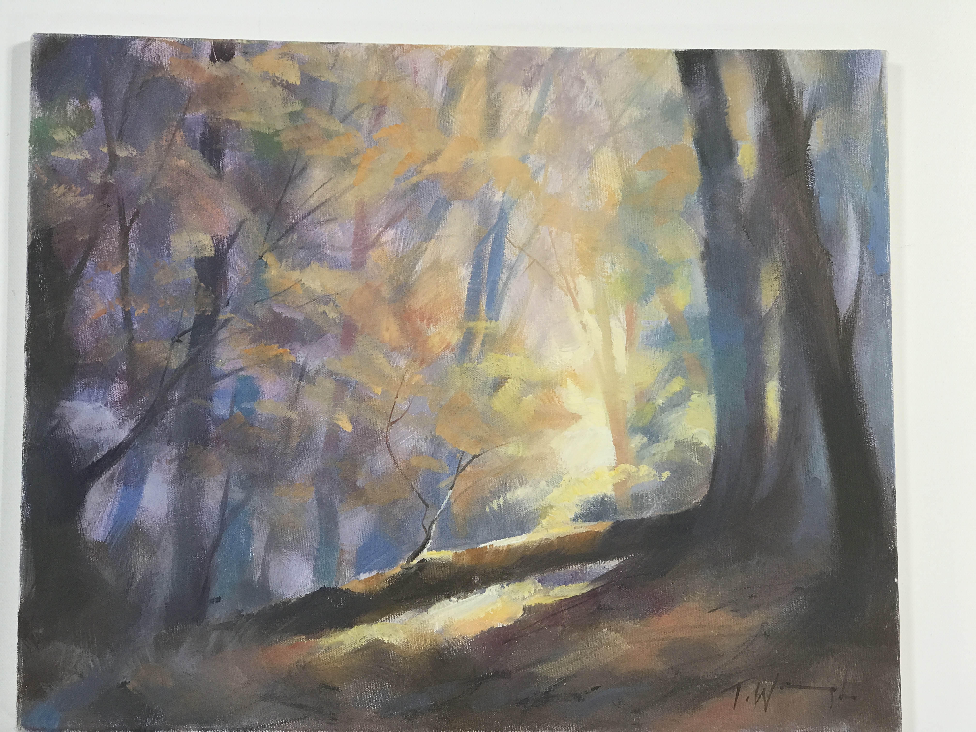 Trevor Waugh, The Fallen Tree, original oil painting. This piece has autumnal tones depicting a forest scene at dusk.