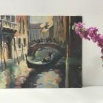 Trevor Waugh, Venetian Canal, Original Oil Painting for Sale Online. Painting of Venetian Waterways. Gondola Painting. Venetian Bridge Painting. Tourist Destinations for 2019. Destination Art. Contemporary Original Art for Sale Online. Scale Picture