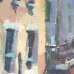 Trevor Waugh, Venetian Canal, Original Oil Painting for Sale Online. Painting of Venetian Waterways. Gondola Painting. Venetian Bridge Painting. Tourist Destinations for 2019. Destination Art. Contemporary Original Art for Sale Online. Close Up