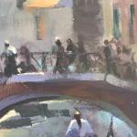 Trevor Waugh, Venetian Canal, Original Oil Painting for Sale Online. Painting of Venetian Waterways. Gondola Painting. Venetian Bridge Painting. Tourist Destinations for 2019. Destination Art. Contemporary Original Art for Sale Online. Close Up . 2