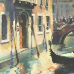 Trevor Waugh, Venetian Canal, Original Oil Painting for Sale Online. Painting of Venetian Waterways. Gondola Painting. Venetian Bridge Painting. Tourist Destinations for 2019. Destination Art. Contemporary Original Art for Sale Online. Close Up 3