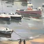 Trevor Waugh, Cornish Harbour Lights, Original Oil Painting for Sale Online. Cornish Harbour, Fishing Art, Seaside Art, Paintings of Boats, Fishing Gifts, Boating Gifts.