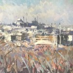 Trevor Waugh, View of Istanbul, Original Oil Painting for Sale Online, Istanbul Cityscape Painting, Contemporary Art for Sale Online, Holiday Destinations, Destination Art, Blue Mosque. Full