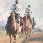 Trevor Waugh, Desert Trio, Original Oil Painting for Sale Online. Desert scene, figurative desert painting, gifts for travellers. Close Up