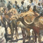 Trevor Waugh, Market in Morocco, Original Oil Painting for Sale Online. Moroccan Painting, Gifts for Travellers, desert art. Full