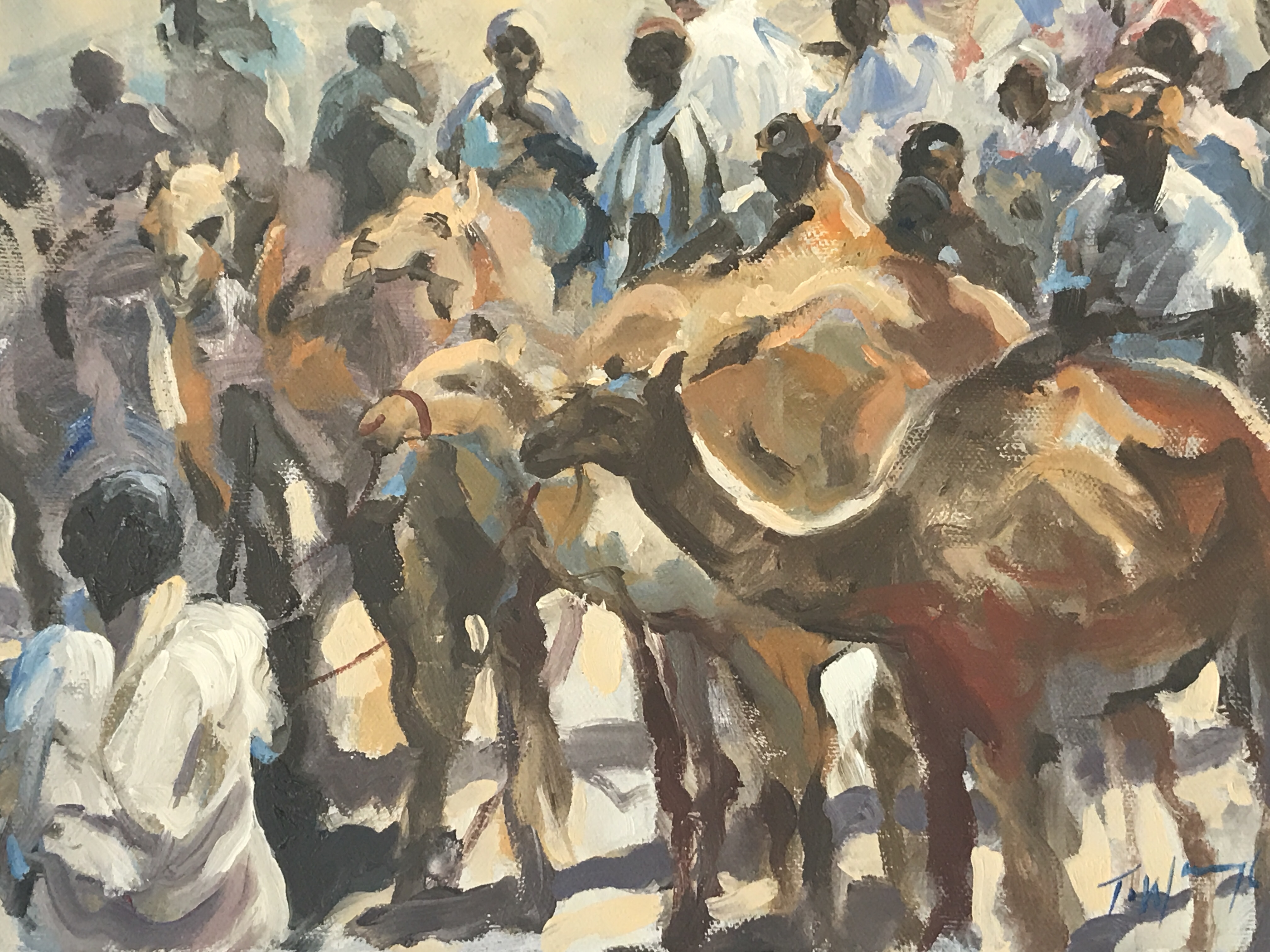 Trevor Waugh, Market in Morocco, is an original oil painting depicting a busy moroccan market place.
