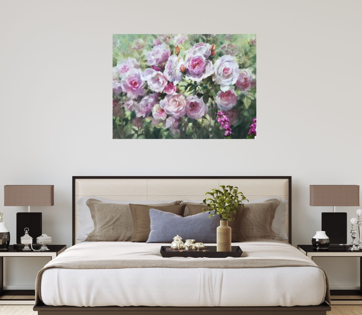 Pink Roses at Kew is an original impressionistic oil painting by Trevor Waugh. The soft pink tones of the roses contrast with the green foliage bringing a layered aspect to the canvas.