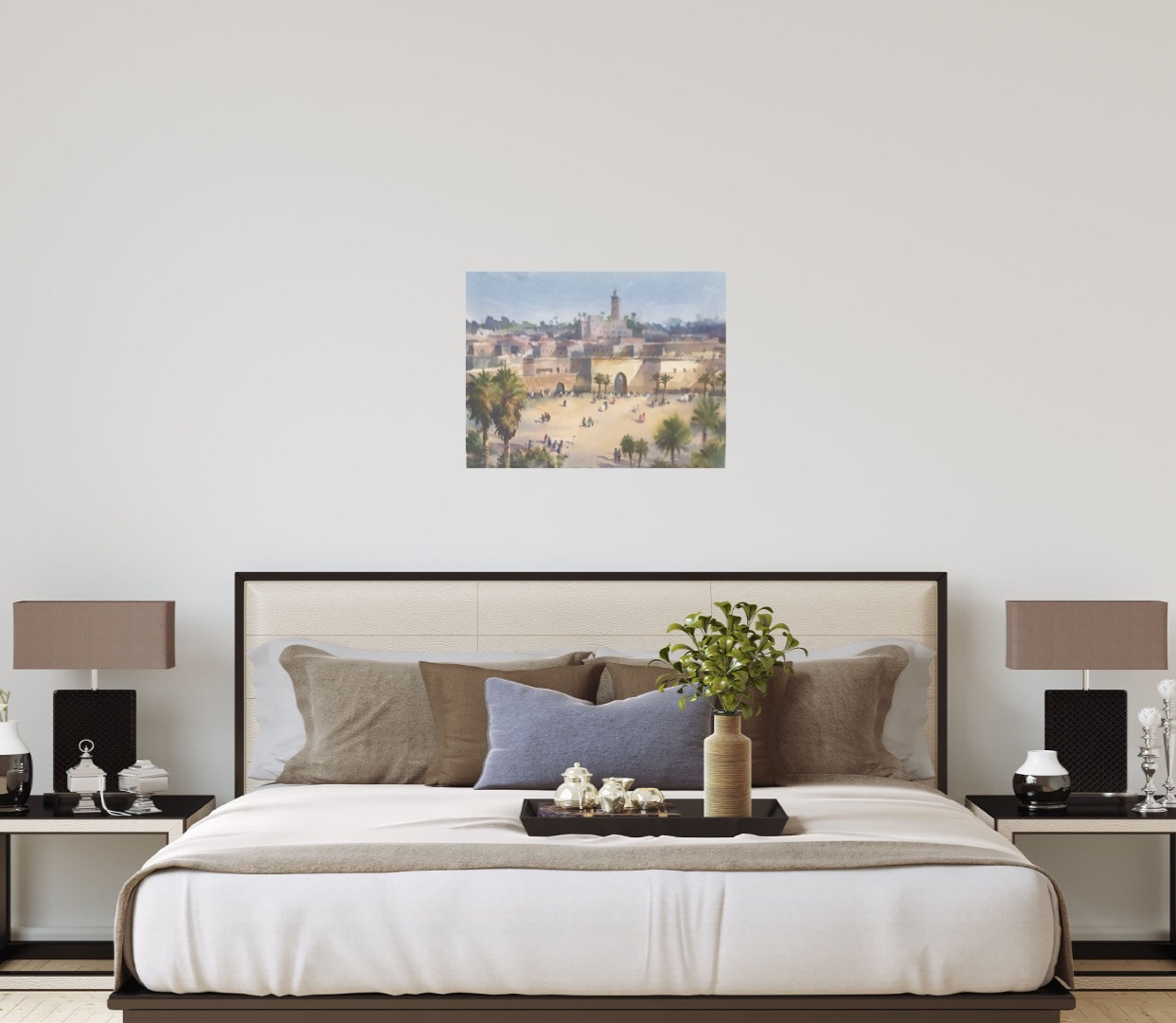 Walls of Marrakech is an original watercolour painting by Trevor Waugh. The blurred effect of the watercolour paint is reminiscent of the high temperatures in Marrakech.