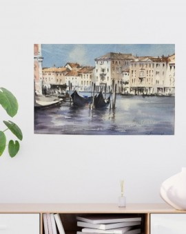 Waiting Gondolas Venice is an original watercolour painting by Trevor Waugh. Waugh's choice to paint a cityscape of Venice with watercolours is apt regarding the location and its famously intricate waterway system.