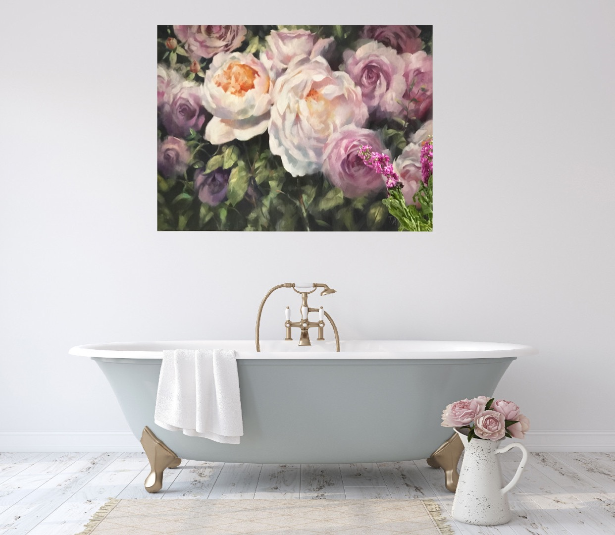 Rose Bouquets is an original Trevor Waugh oil painting. The soft peachy tones of the roses contrasted with the harsh green foliage gives the piece greater depth.