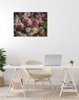 Studio Roses is an original oil painting by Trevor Waugh. The darker pink colouring of this piece dispersed with brief white flowers gives the work a warmth.