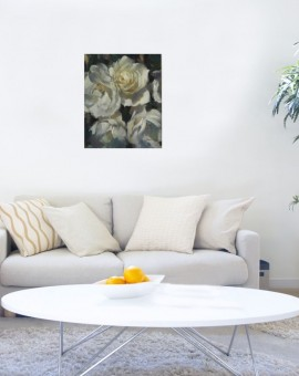 The White Ones is an original oil painting by Trevor Waugh. Waugh's choice to paint white roses allows him to explore a larger tonal palette. This piece sits particularly well next to 'Deep Pink' by Trevor Waugh.