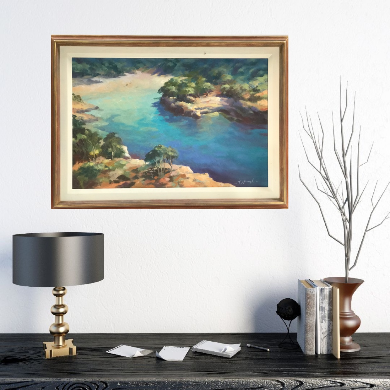 Blue Core, Menorca is an original contemporary oil painting. Waugh brings the vibrant azure blue sea tones of the Mediterranean to life by contrasting them with the neutral tones of the arid landscape.