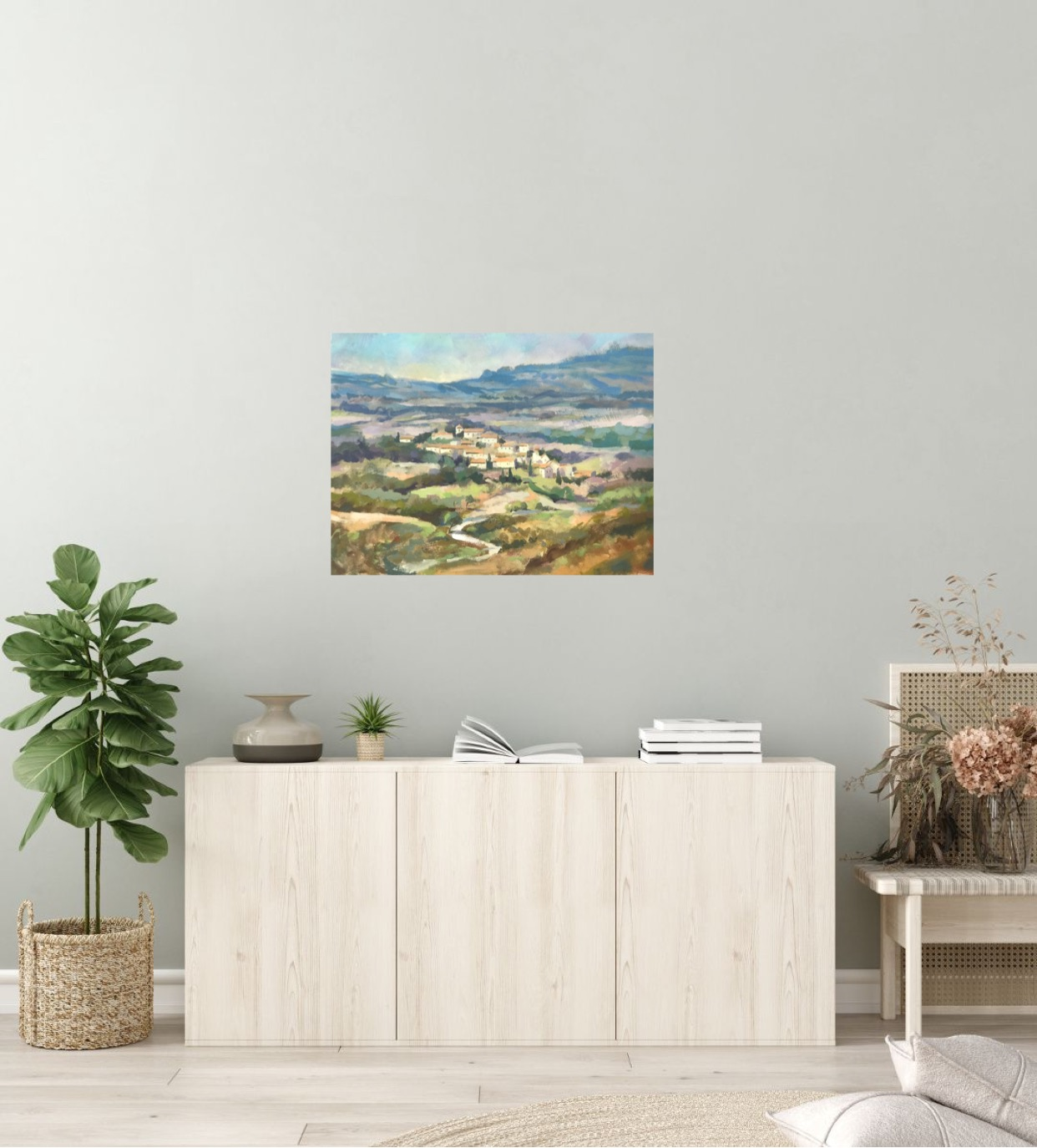 Fanjeaux, South of France is an original Trevor Waugh oil painting.