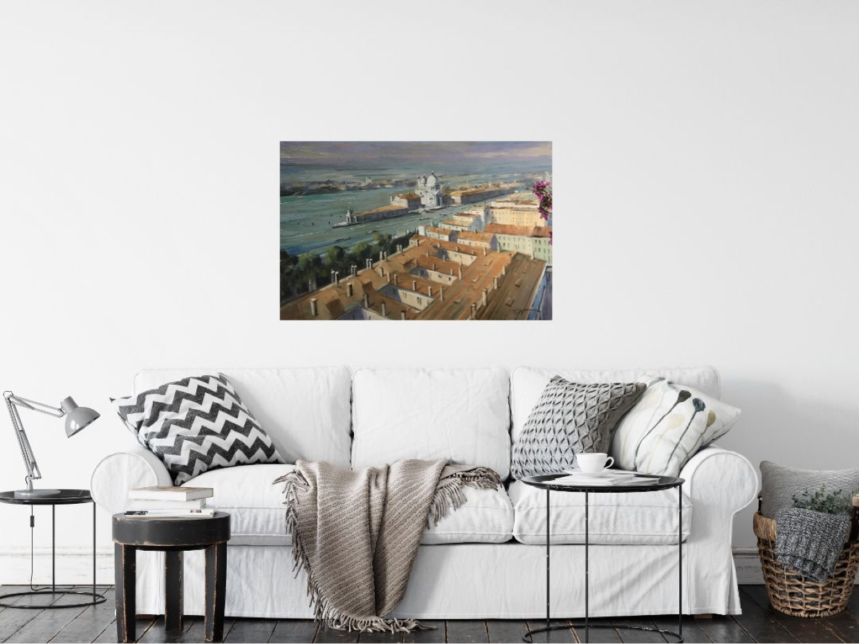 Venetian Rooftops is an original Trevor Waugh oil painting. An interesting view of venice from an alternative perspective.