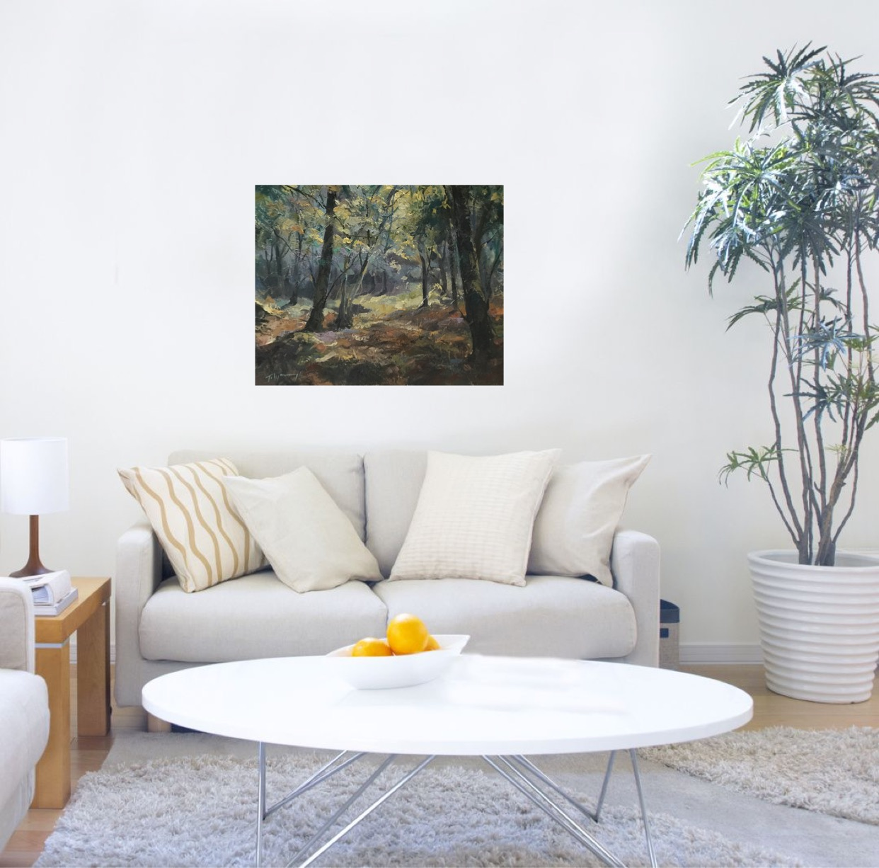 Trevor Waugh, Forest Tapestry, original oil painting depicting a forest scene.