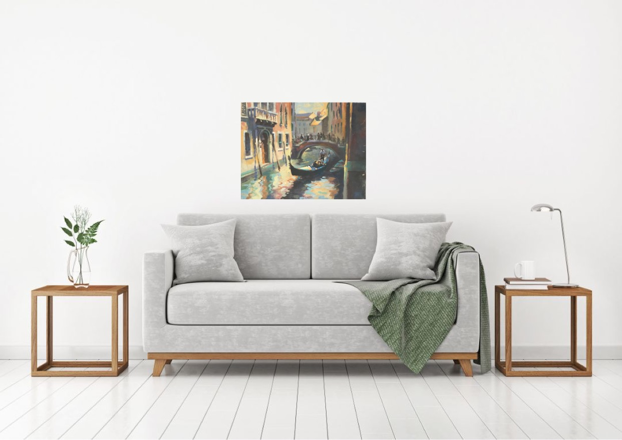 Trevor Waugh Original Oil Painting for Sale depicting the colourful waterways of Venice
