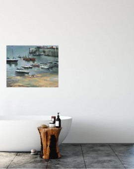 Trevor Waugh original oil painting for sale. Depicting a classical interpretation of a quintessentially english harbour in Cornwall.
