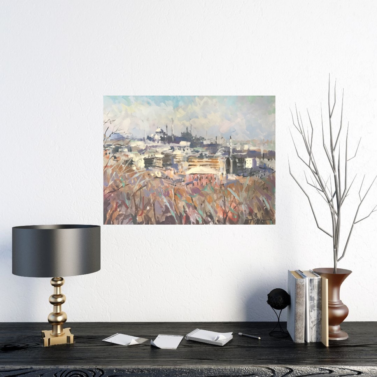 Trevor Waugh, View of Istanbul, is an original oil painting. A colourful depiction of the busy city of Istanbul.