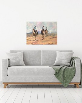 Trevor Waugh, Desert Trio, original oil painting depicting a figurative desert scene with three adventurers trekking the dunes on camel back.