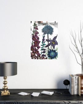 A floral medley of aliums, aquilegia, love in the mist, salvia and foxgloves. Hand coloured linocut so the colours of each print may vary within the edition.