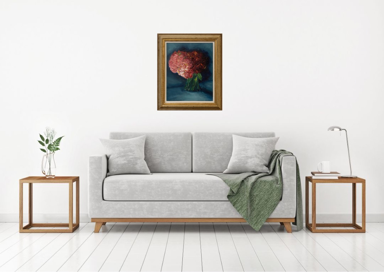 Alstroemeria Pink Star is an original oil painting by Henrietta Caledon. The teal coloured back ground gives the piece a moody edge, offset by the pink flowers and golden frame.