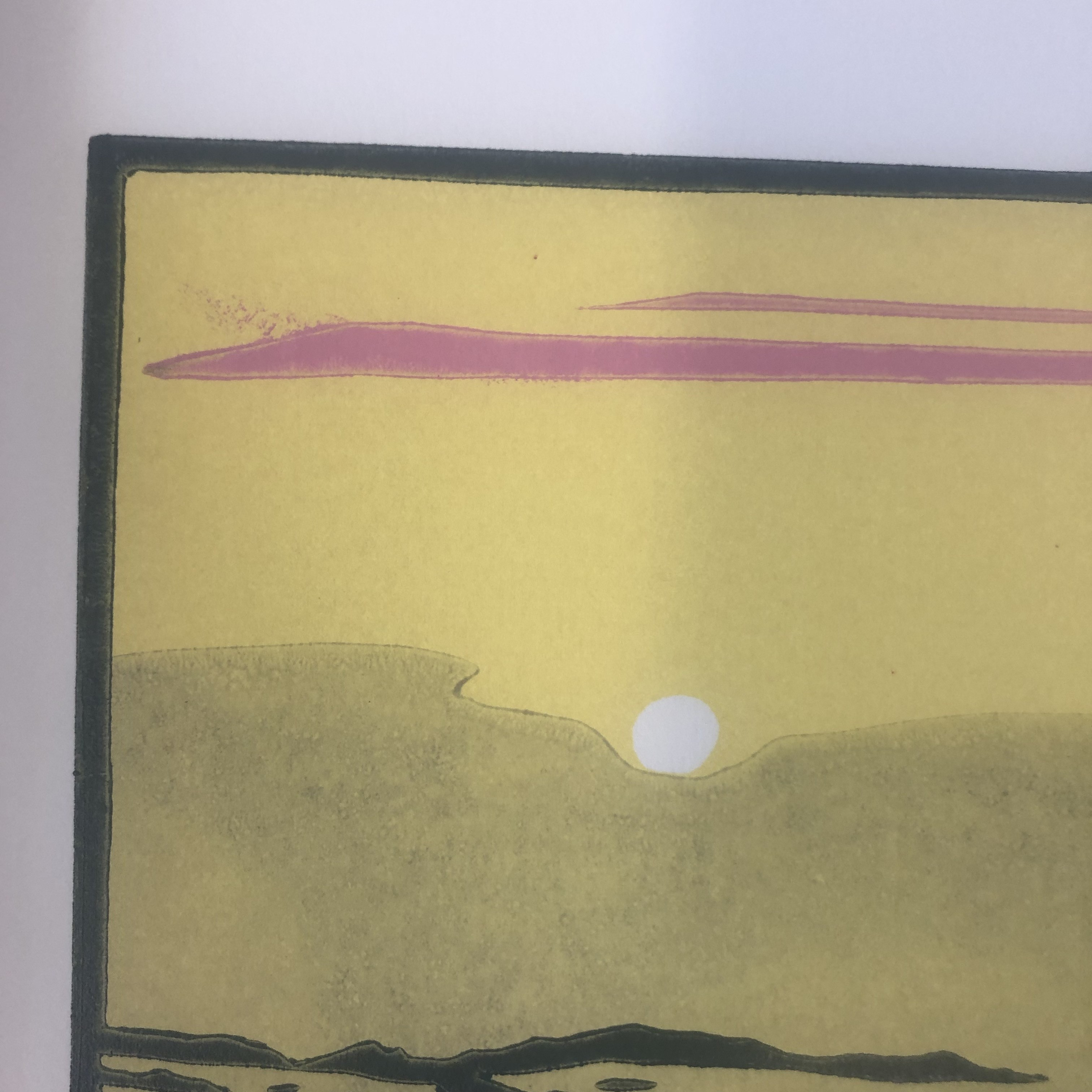 The Creek is a limited edition 3 block linocut print. The piece depicts a seascape featuring a fishing boat at dusk.