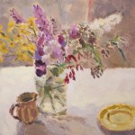 Lynne Cartlidge Buddleia with Yellow Flowers and Saucer Wychwood Art