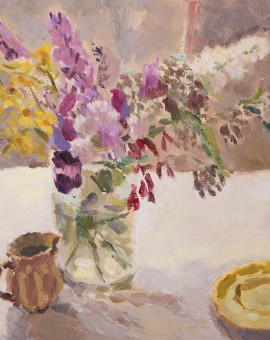 Lynne Cartlidge Buddleia with Yellow Flowers and Saucer Wychwood Art