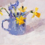 Lynne Cartlidge Grape Hyacinths and Daffodils in a Blue Jug Wychwood Art