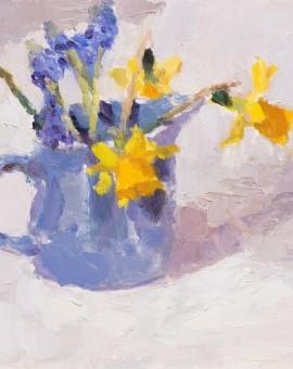 Lynne Cartlidge Grape Hyacinths and Daffodils in a Blue Jug Wychwood Art