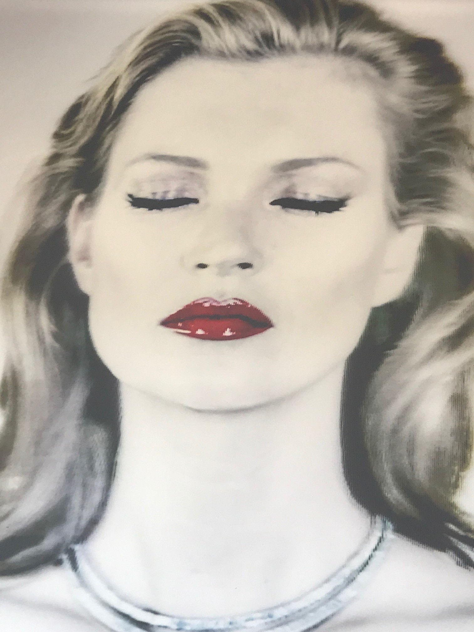 In Chris Levine's She's Light (Pure) Kate Moss' emblamatic status and iconic features are heightened by the bold colours that contrast with the delicate paleness of her skin.