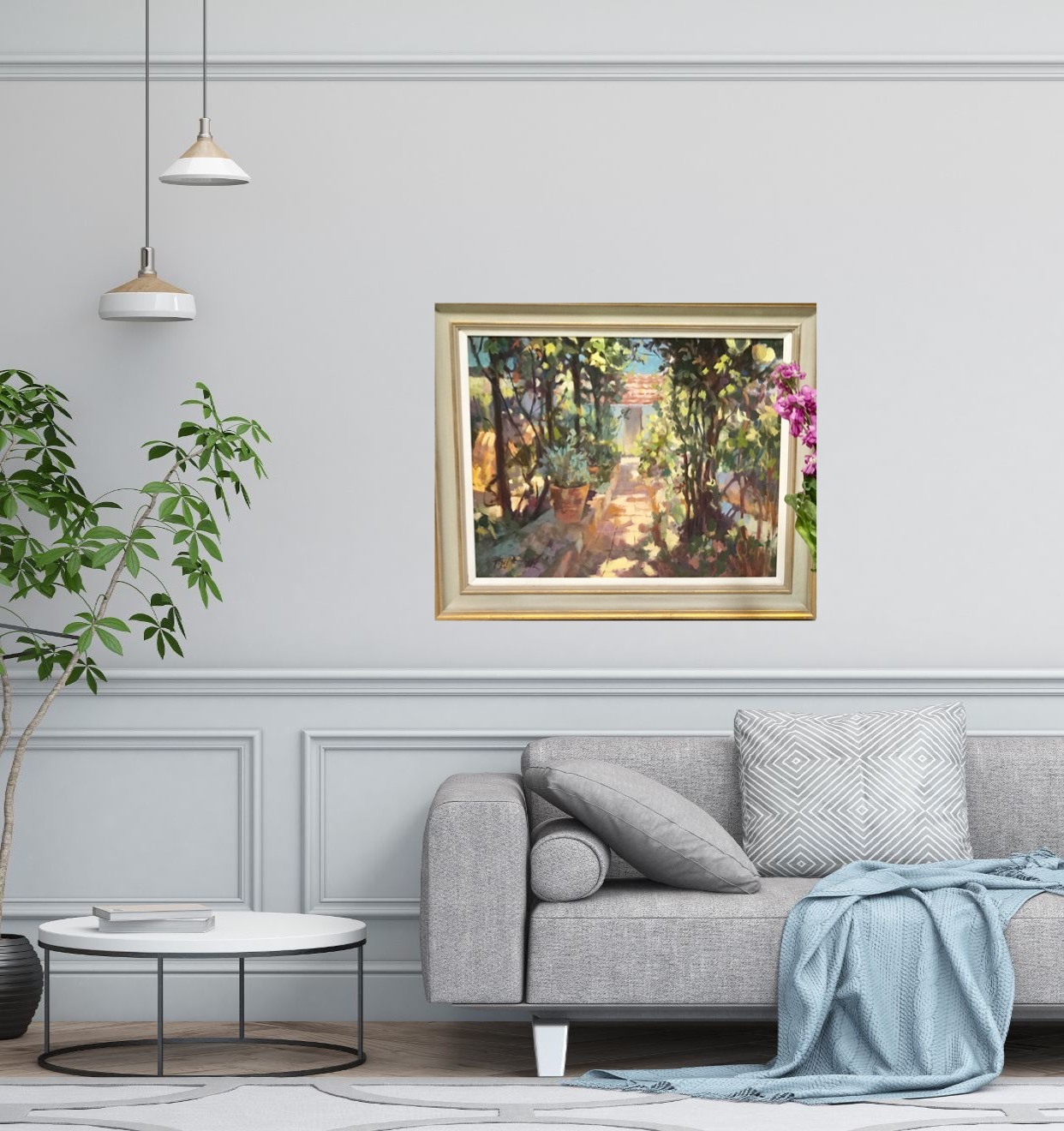 Spanish Light is and original impressionistic painting. The green and terracotta tones contrast each other, giving the piece a vibrancy that attracts the eye to the path which leads you into the painting.