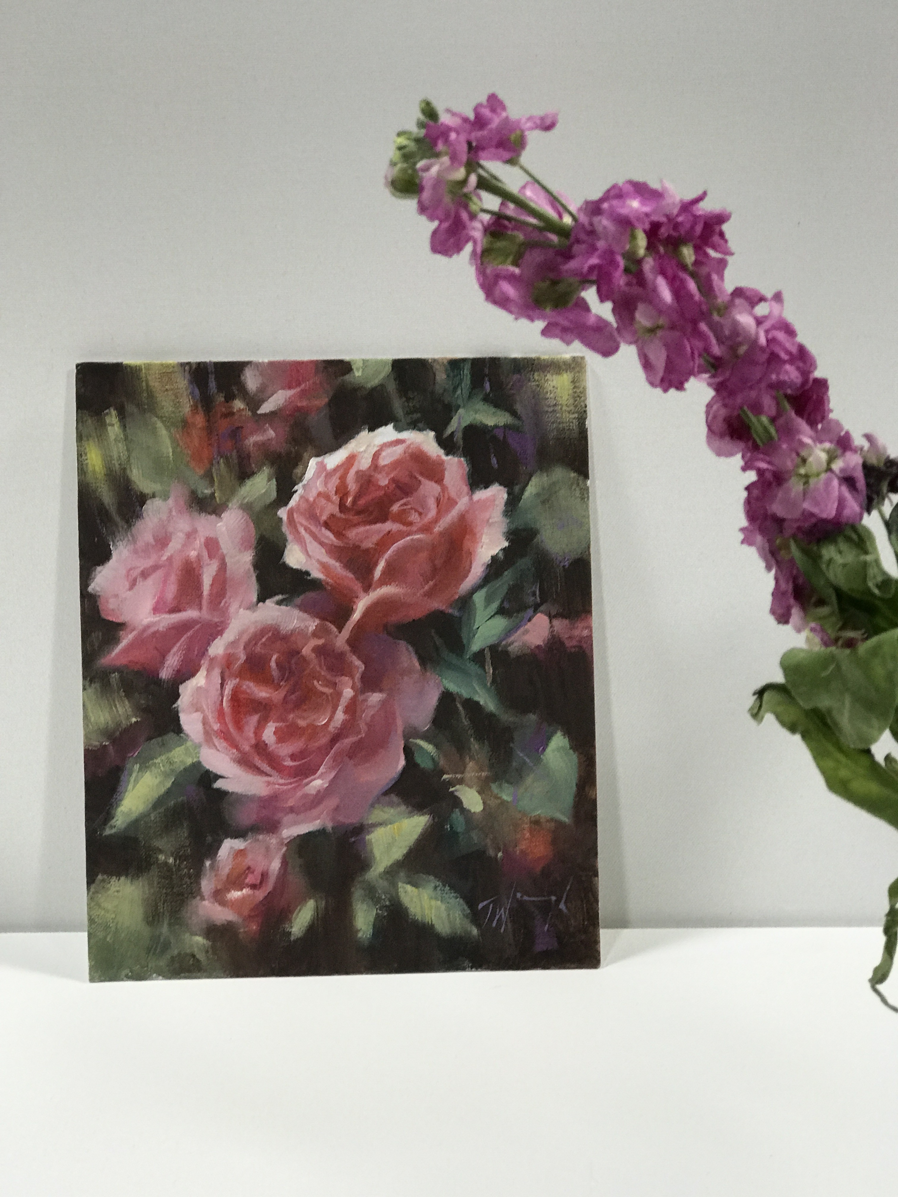 Deep Pink is an original oil painting by Trevor Waugh. The rich pink tones contrasted with the blurred green background allows focus to be purely on the flowers.