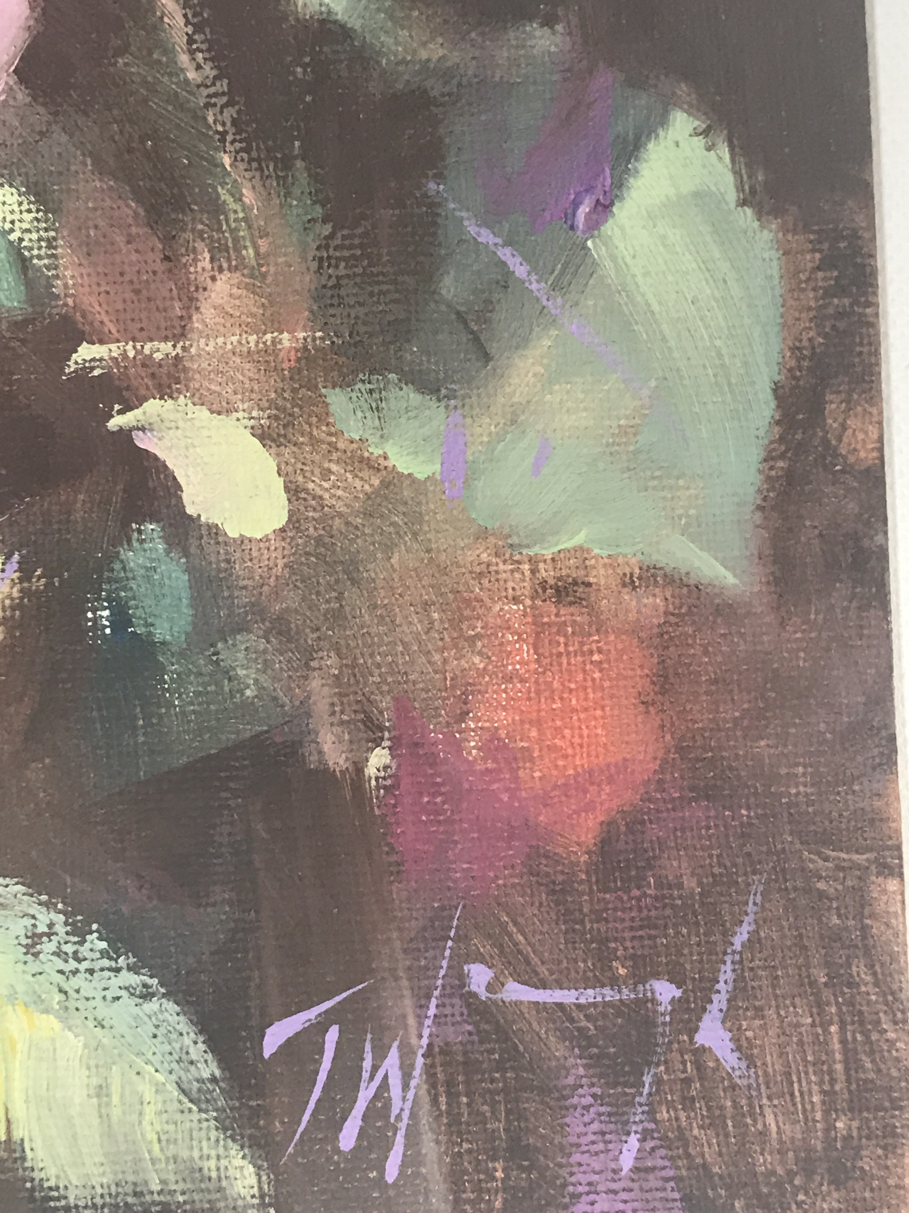 Rose Study is an original oil painting by Trevor Waugh. The impressionistic style of the piece is telling as to how Waugh applied the paint to the card. v