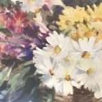 Trevor Waugh | Flower Basket | Basket of Light | Original Acrylic Painting on Canvas | Contemporary Art for Sale | Floral Art | Rural Art | Painting of Flower Baskets | Close Up 2