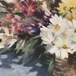 Trevor Waugh | Flower Basket | Basket of Light | Original Acrylic Painting on Canvas | Contemporary Art for Sale | Floral Art | Rural Art | Painting of Flower Baskets | Close Up 3
