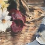 Trevor Waugh | Flower Basket | Basket of Light | Original Acrylic Painting on Canvas | Contemporary Art for Sale | Floral Art | Rural Art | Painting of Flower Baskets | Close Up