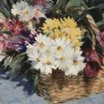 Trevor Waugh | Flower Basket | Basket of Light | Original Acrylic Painting on Canvas | Contemporary Art for Sale | Floral Art | Rural Art | Painting of Flower Baskets | Full