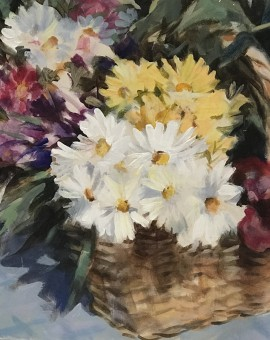 Trevor Waugh | Flower Basket | Basket of Light | Original Acrylic Painting on Canvas | Contemporary Art for Sale | Floral Art | Rural Art | Painting of Flower Baskets | Full