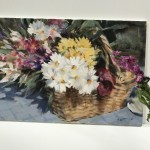 Trevor Waugh | Flower Basket | Basket of Light | Original Acrylic Painting on Canvas | Contemporary Art for Sale | Floral Art | Rural Art | Painting of Flower Baskets | Scale